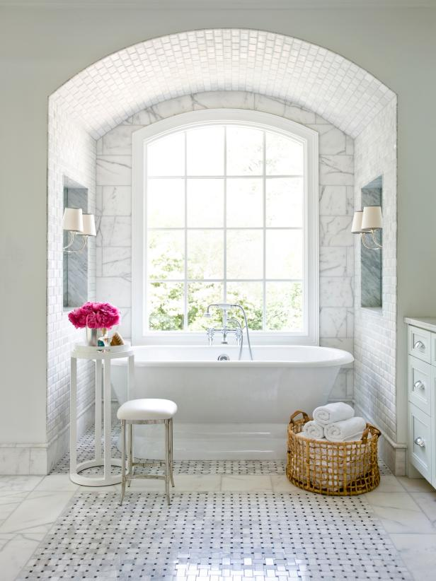 Perfect Comely Bathroom Design Using White Ceramic Tile Also Bathtub And Table