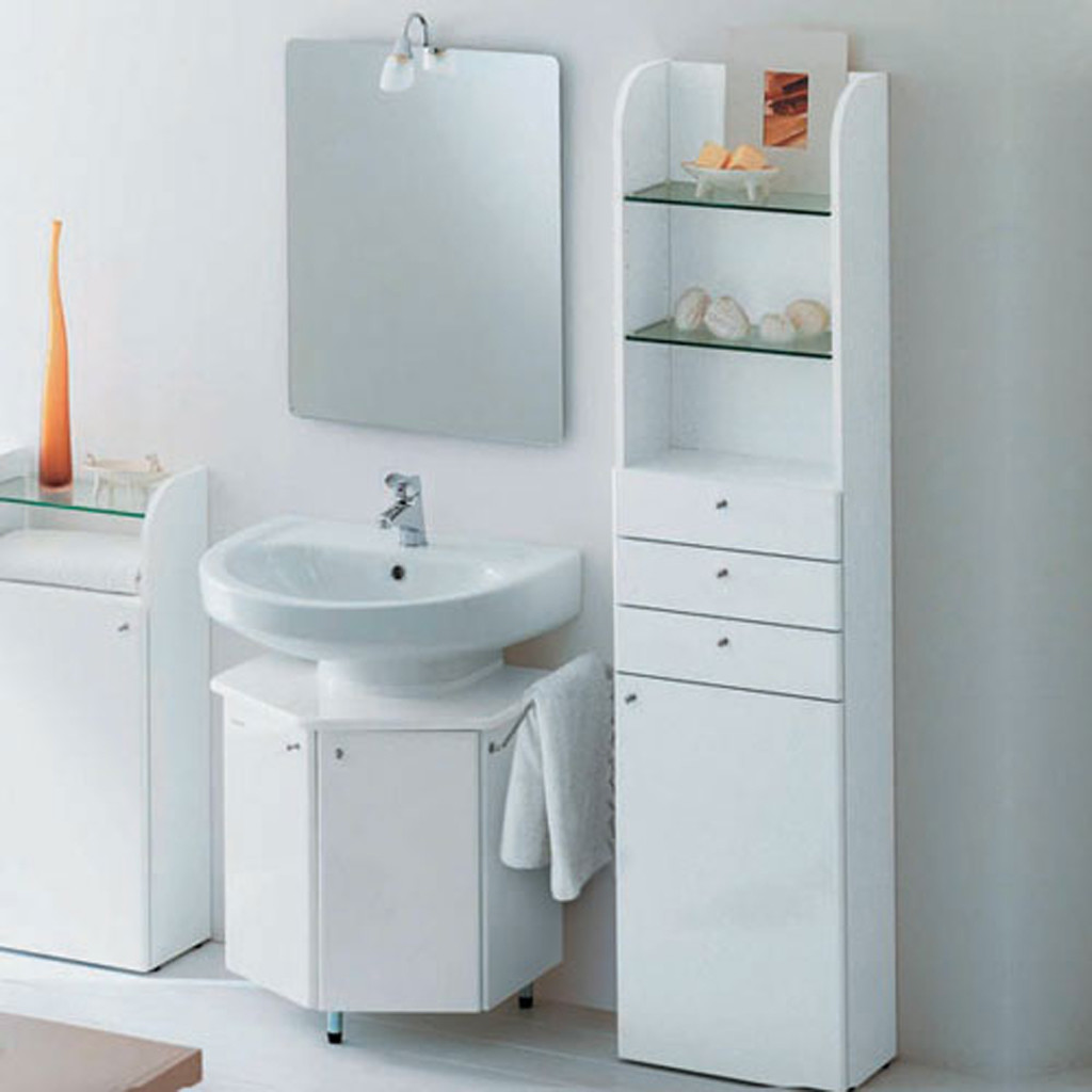 Comely Vanity also White Mirror Beside Shelve For Decorating Bathroom