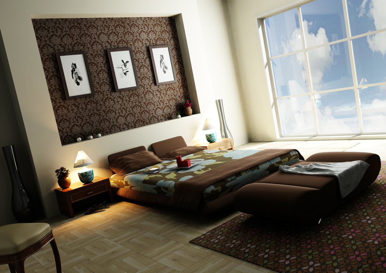 Contemporary Apartment Bedroom Style With Lush Bed and Bench Decor