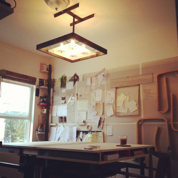 Dainty Home Office With Chic Pendant Lamp Shade Above Study Desk