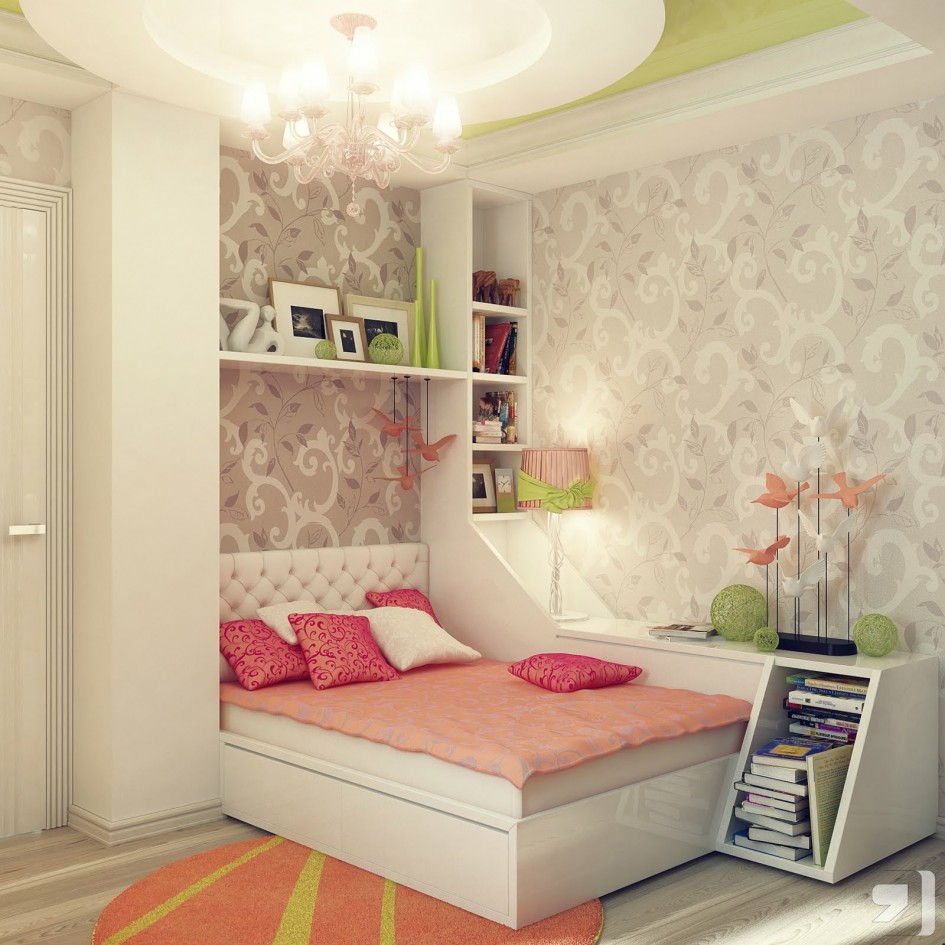 Delicate Bed also Book Shelve plus Nice Chandelier For Tween Bedroom