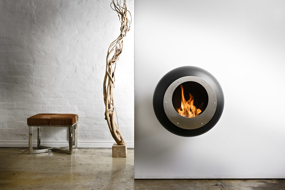 Delicate Electric Fireplace Design Also Fake Plant Design near Stool