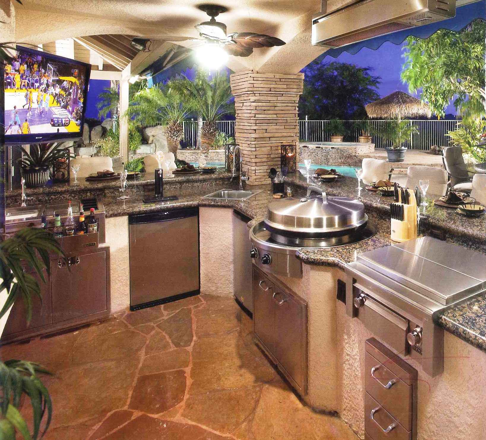 Delightful Outdoor Kitchen With Modern Cabinet and Ceiling Lamp Van