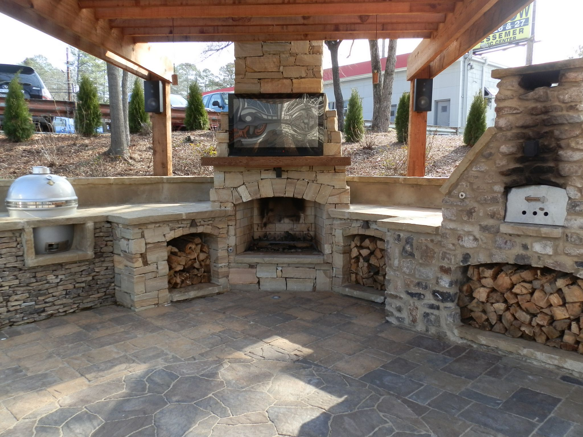 Excellent Stone Cabinet and Fireplace Mantel also TV For Outdoor Kitchen