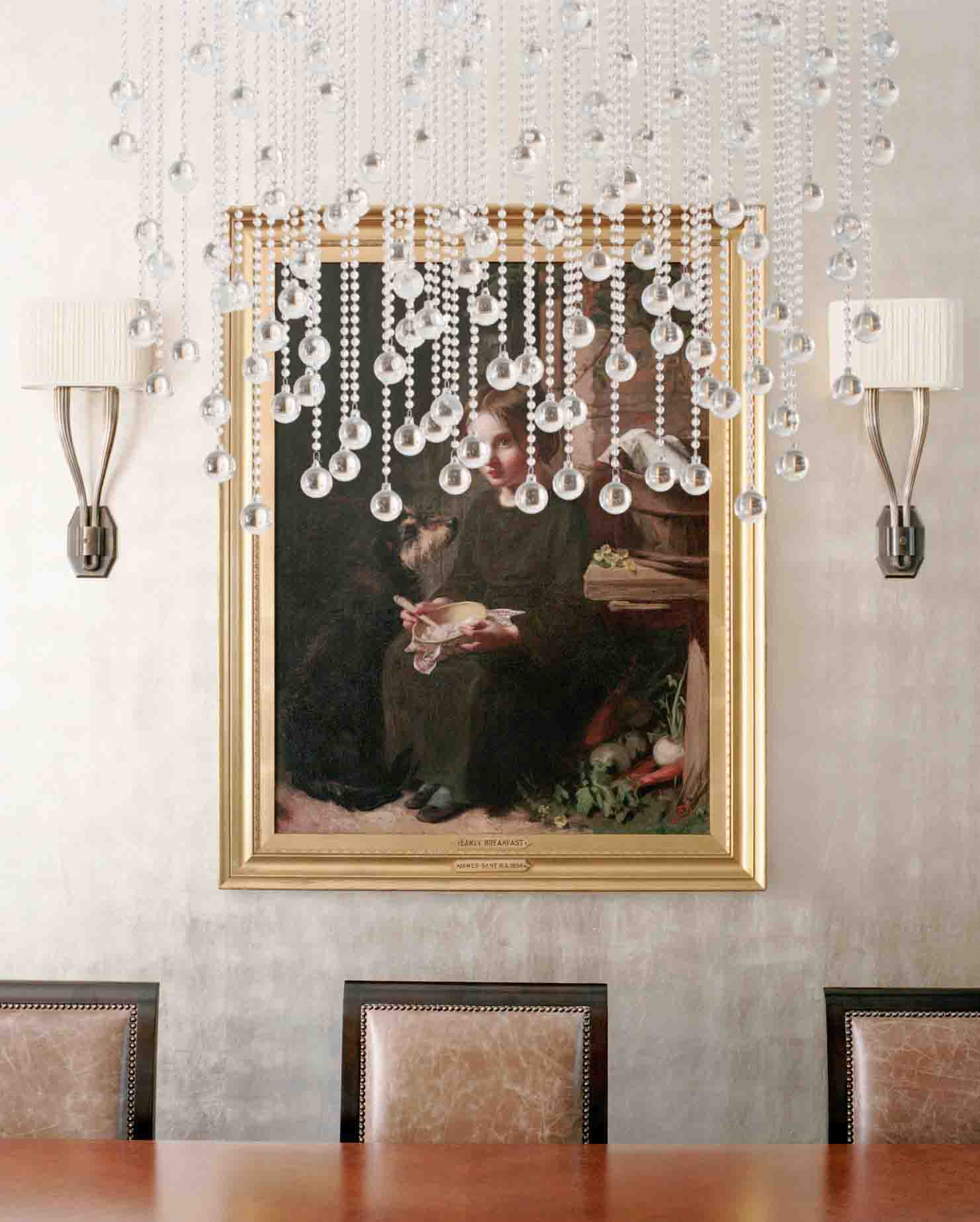 Exquisite Dining Space With Chandeier and Wall Lamps For Unique Light Fixtures