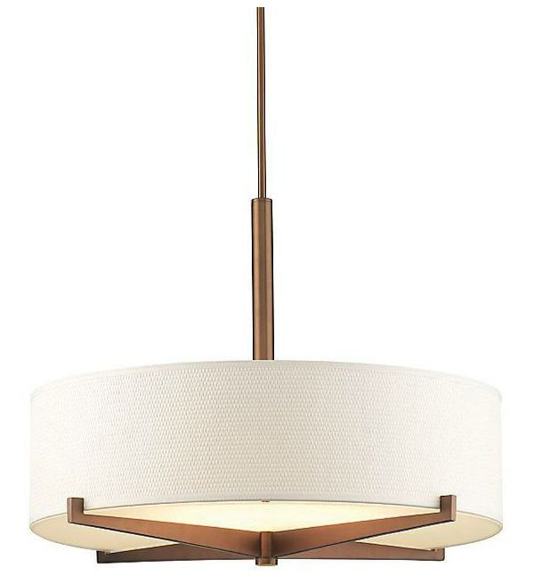 Fancy Chandelier Design Using White Drum Shade and Brown Pipe