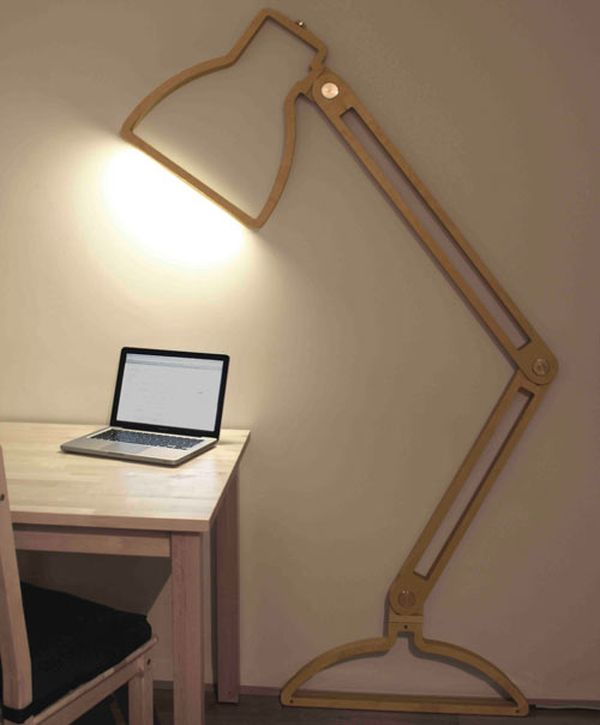 Fantastic Home Office Using Minimalist Wooden Desk and Chair also Wall Lamp