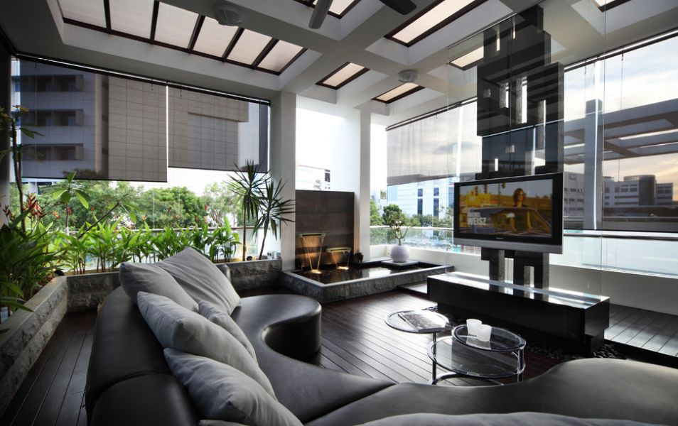 Fine Living Room Using  Semi Circle Sofa also Indoor Wall Fountains