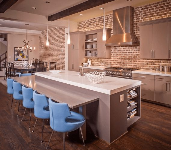 Beau Impressive Kitchen Design Using Natural Stone Backsplash Also Modern Bar  Table