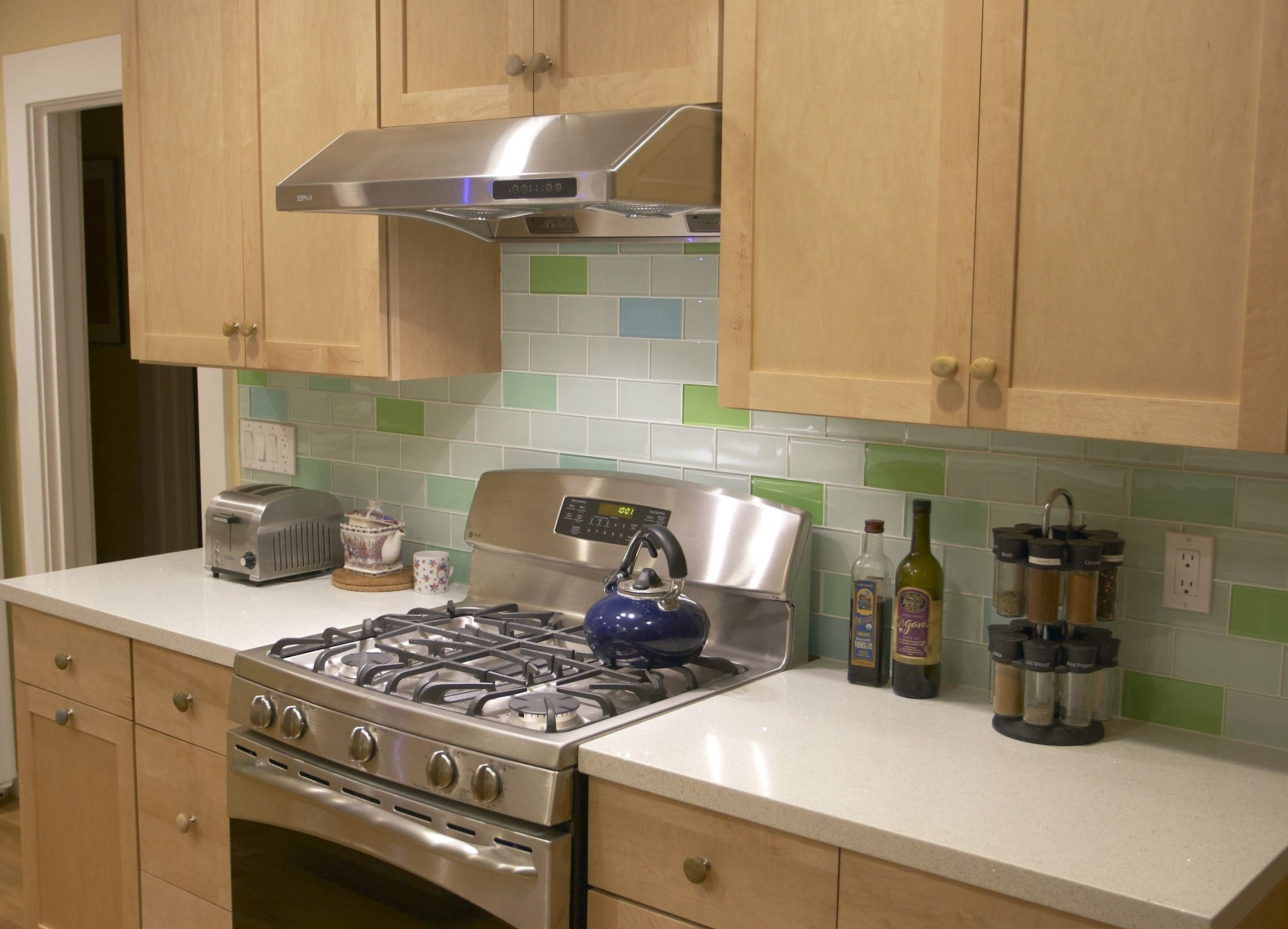 100 [ green kitchen tile backsplash ]