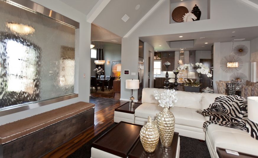 Interesting Family Room Decoration Ideas Using Wall Fountain also Sectional Sofa
