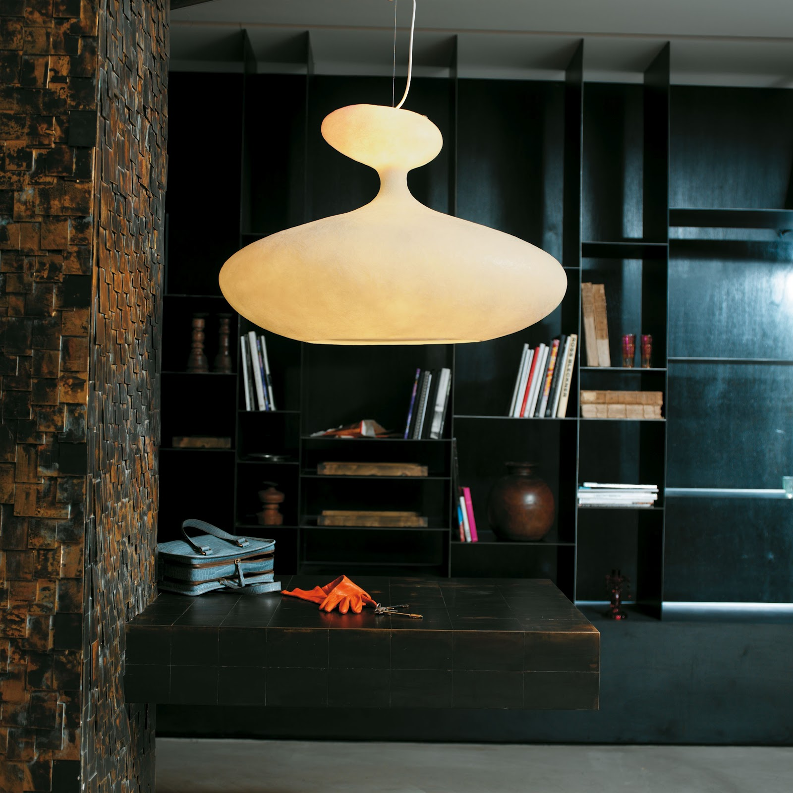 Luring Chandelier also Mounted Table Plus Black Book Shelve Design