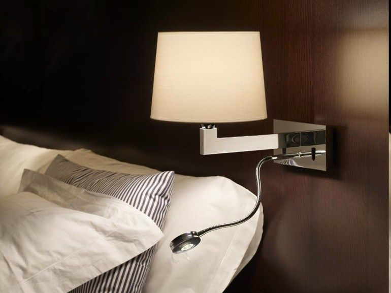 Luxurious Bedroom With Wall Lamp Using Drum Shade and Chrome Leg