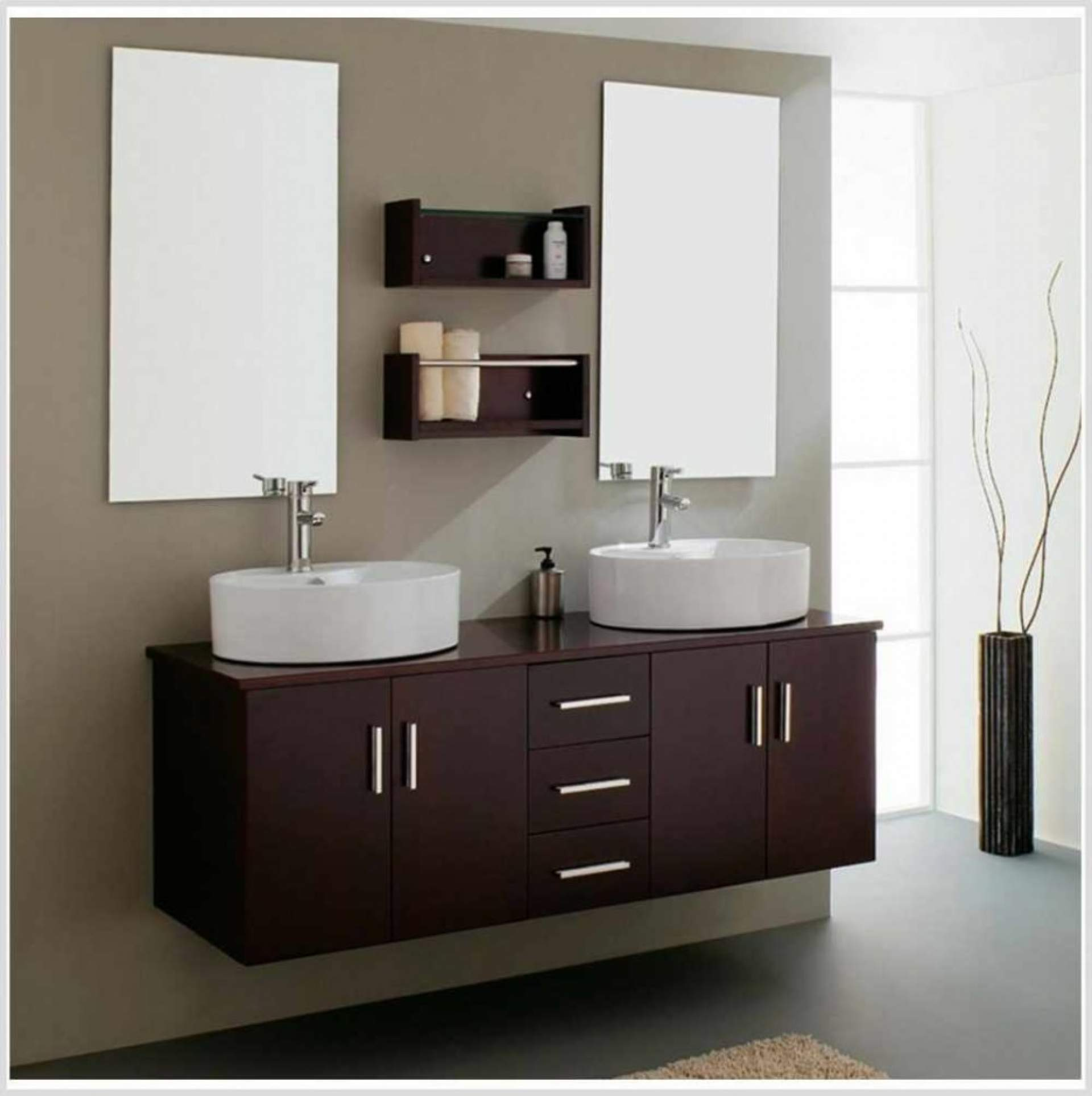 Luxurious Vanity also Double Sinks and Mounted Shelve Between White Bathroom Mirror