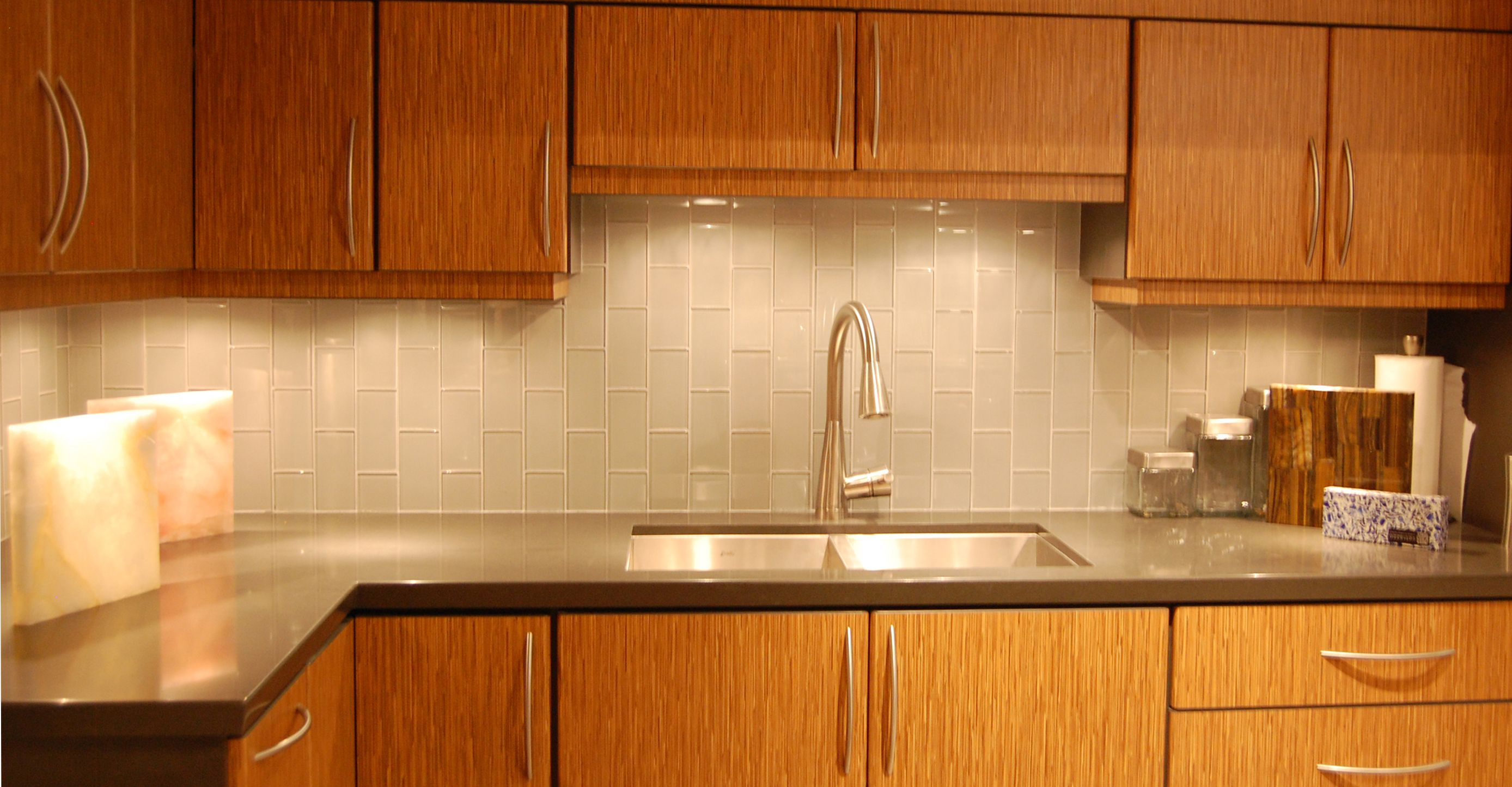 Magnificent  Kitchen Design With Cabinet also Steel Faucet and Sink Plus Ceramic Backsplash