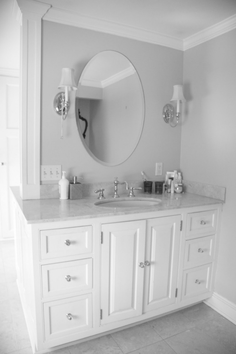 Marvelous Cabinet With Marble Top also White Bathroom Mirror Design