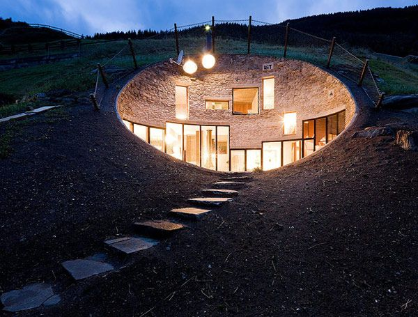 Marvelous Underground Hobbit House Design Ideas With Bright Lighting Fixture