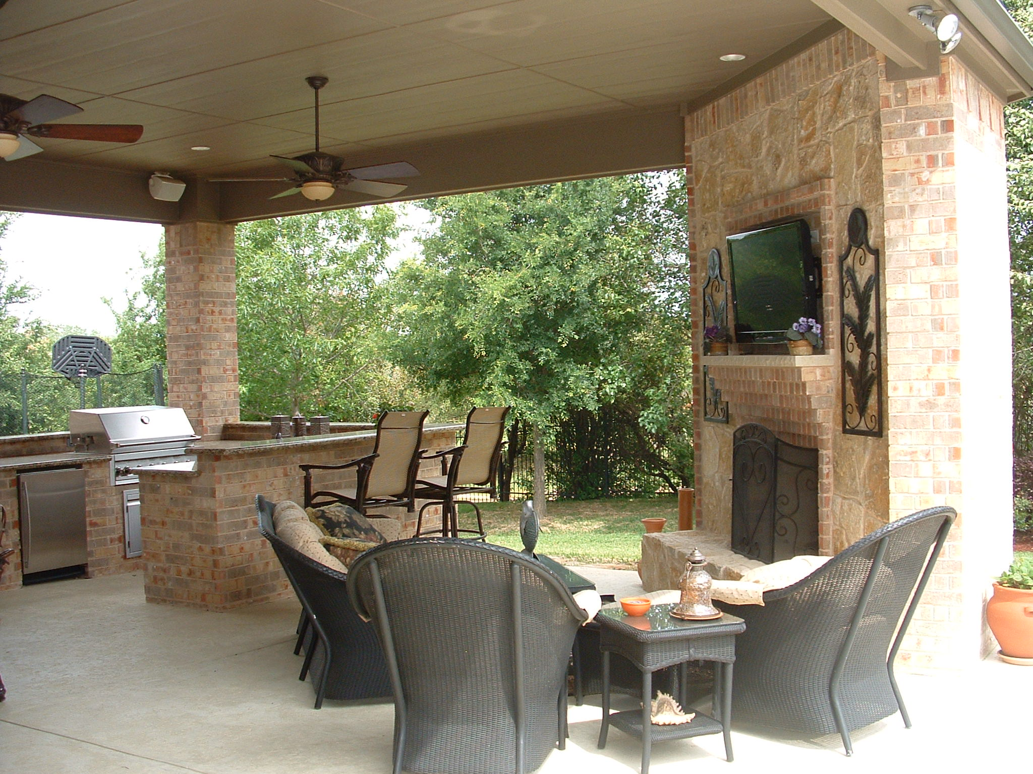 Kitchen Fireplace Design Ideas Part - 31: Nice Furniture For Outdoor Kitchen Design Ideas With Lavish Fireplace Mantel