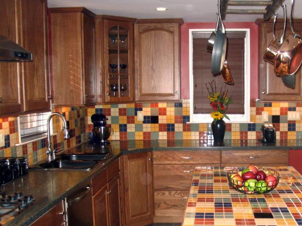 Nice Kitchen With Colorful Backsplash and Bar Table Top Ceramic Tile Design