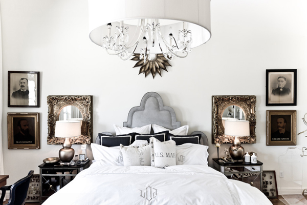 Opulent Bedroom Design Using Bed Between Side Tables and Mirrors