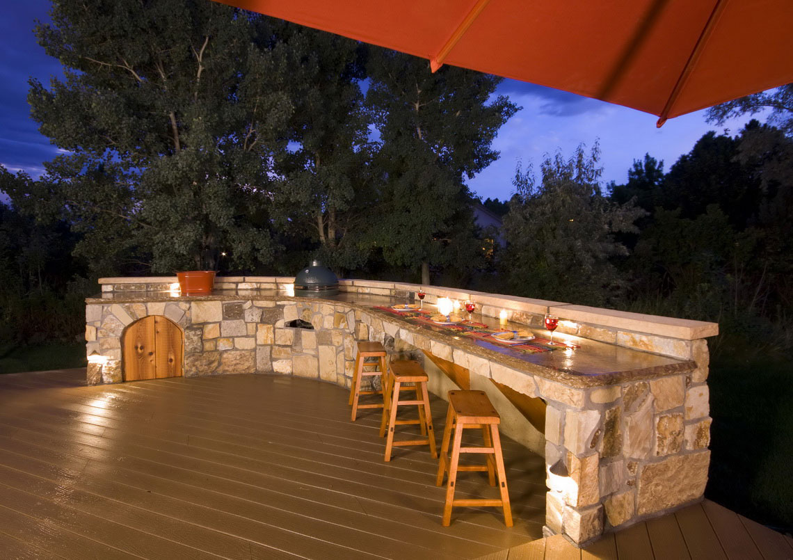 Pleasant Natural Stone Cabinet and Wooden Stools For Outdoor Kitchen