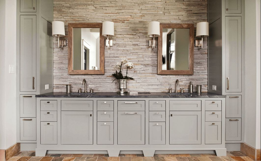 Bon Pleasing Bathroom With Gray Cabinet Also Natural Backsplash Plus Mirrors