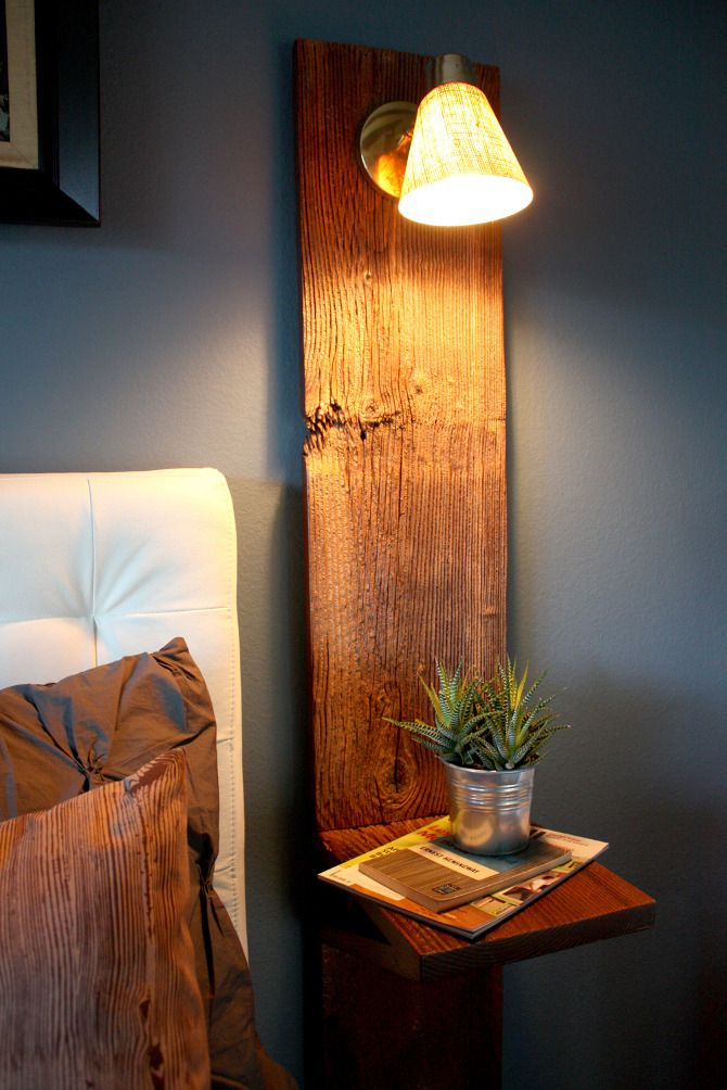 Superieur Rustic Wall Lamp Design Idea With Bell Shade Also Wooden Leg