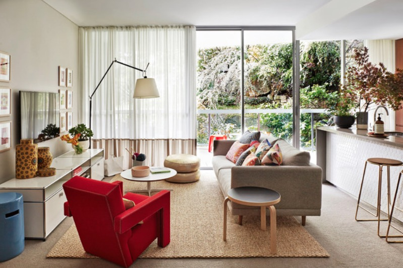 Seductive Living Room Using Arch Floor Lamp also Red Arm Chair