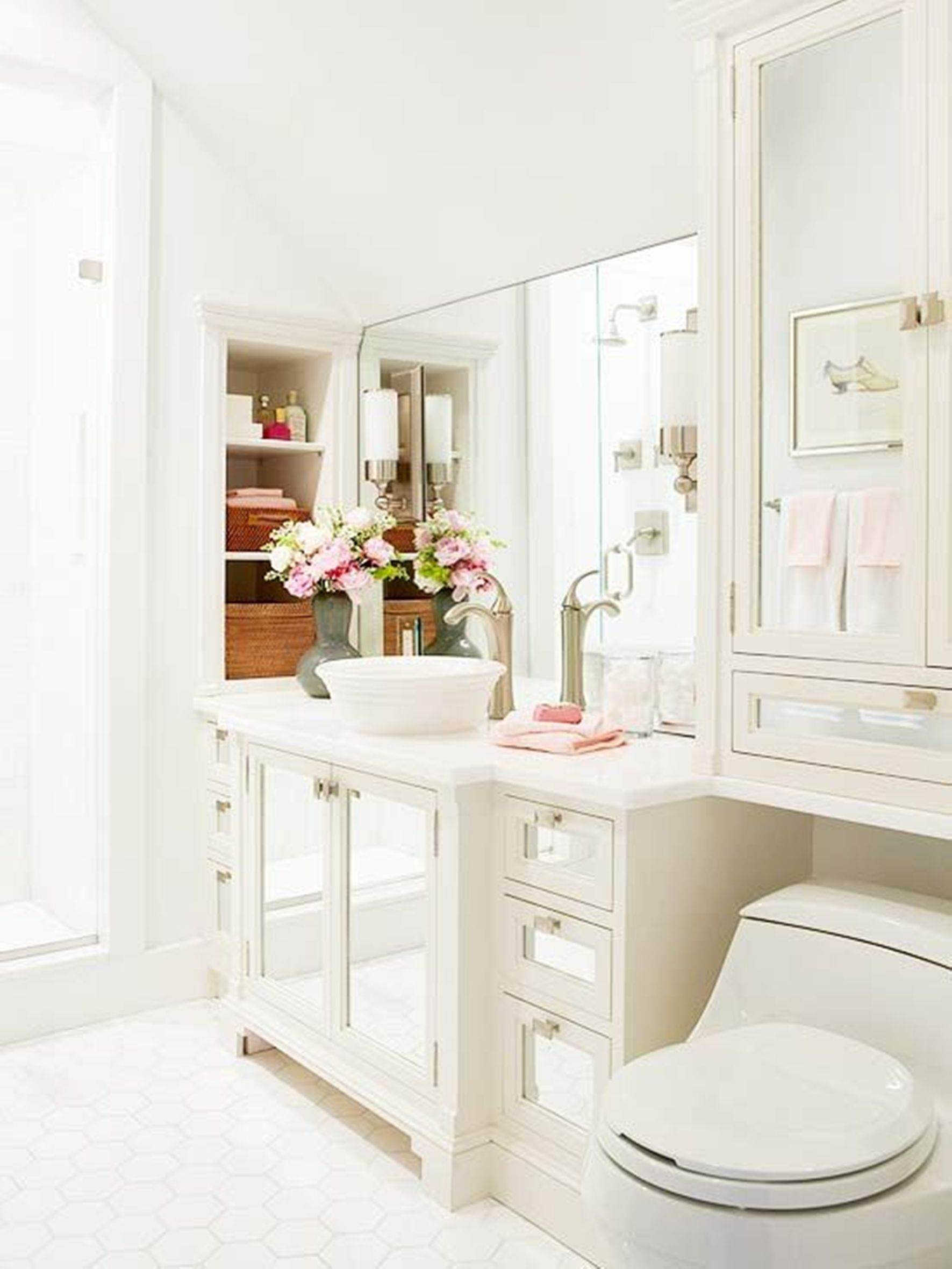 Sublime Interior Bathroom Using White Cabinet and Mirror also Toilet