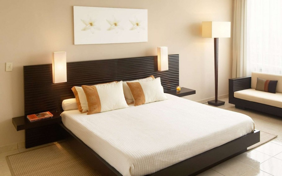 Tantalizing Bed also Wall Lamps and Sofa For Apartment Bedroom