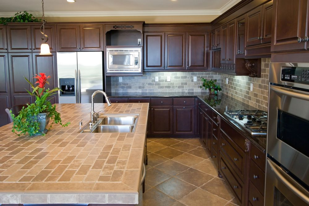 Wondrous Interior Kitchen With L Shape Wooden Cabinet And Ceramic Tile  Backsplash