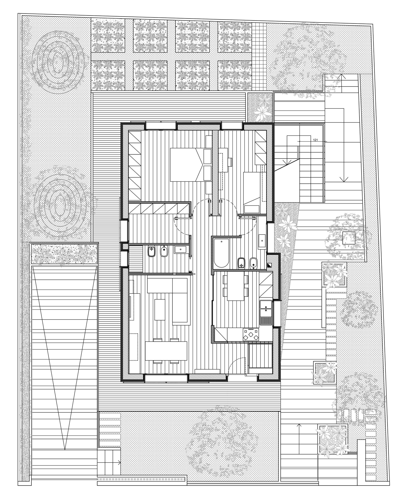 Adorable Huse Floor Plan With One Bedroom and Family Room also Kitchen