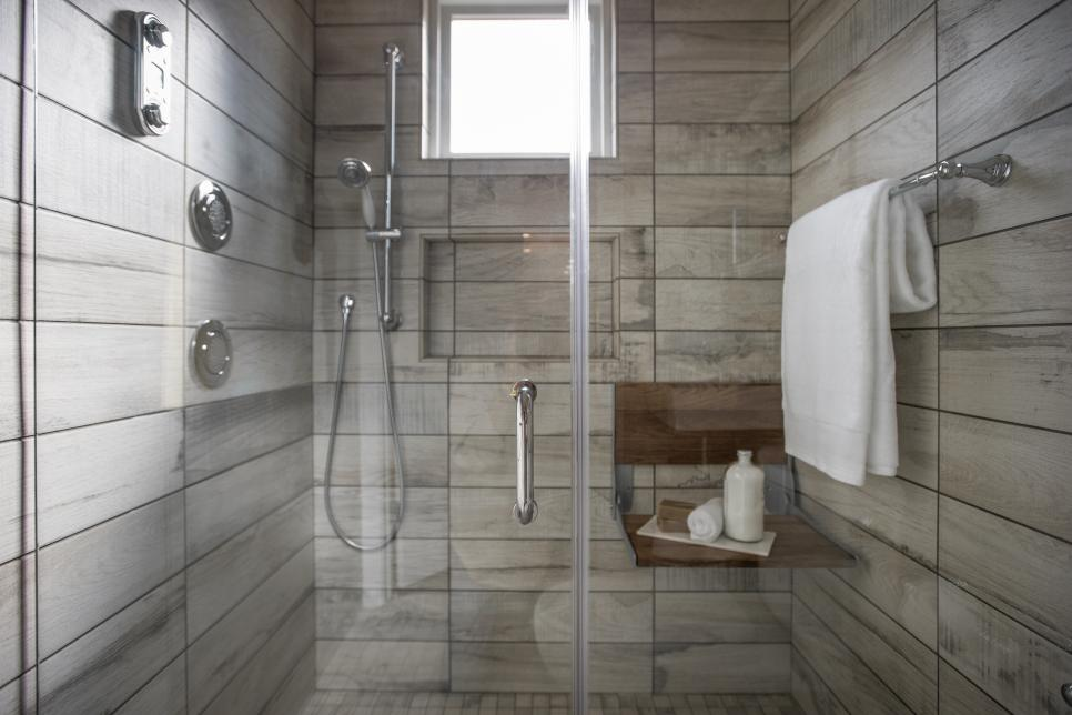 Agreeable Interior Shower Area Using Lavish Wall Tile and Stainless Steel Towel Hook