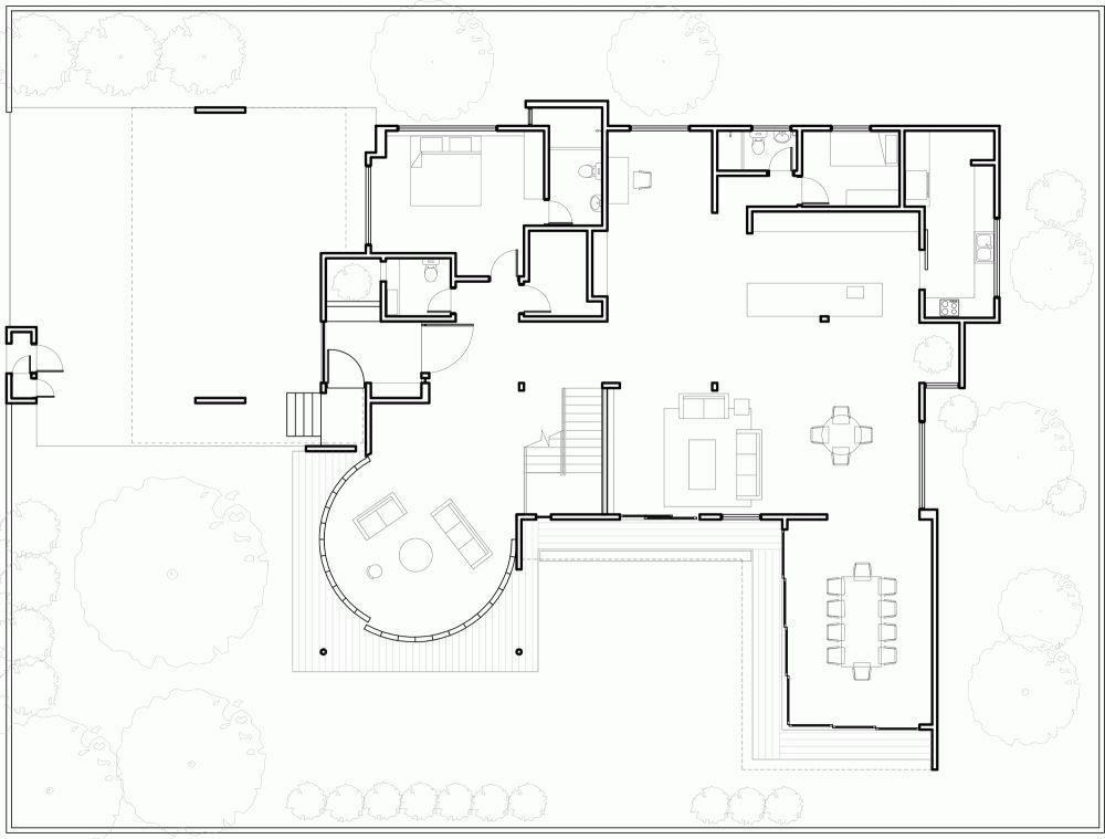Angelic Floor Plan Concept With Round Living Room Design Idea