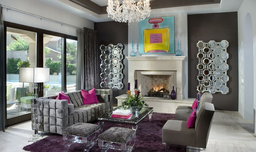 Astonishing Concept Of Purple Living Room With Neat Pillow Cover