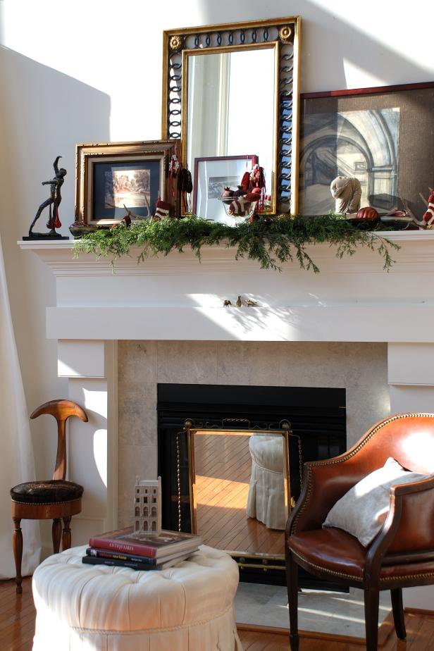 Merveilleux Astonishing Fireplace Hearth Ideas With Shelve Beside Brown Arm Chair