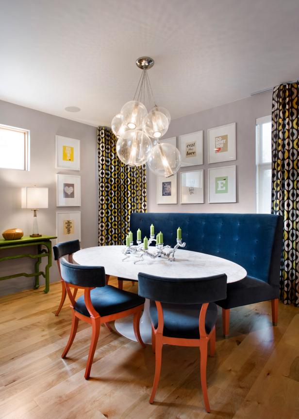 Attractive Dining Space Using White Okval Coffee Tables and Navy Chairs
