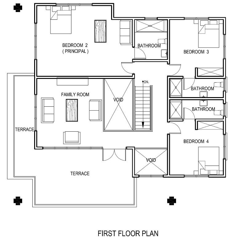 Awful Floor Plan Design With Three Bedrooms And Family E