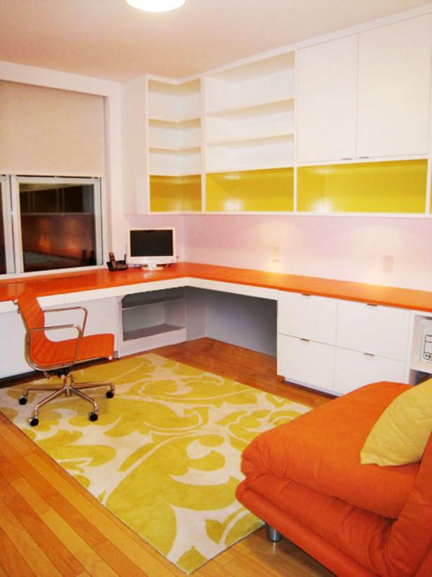 Beautiful Concept Of L Shape Contemporary Computer Desk also Orange Chair
