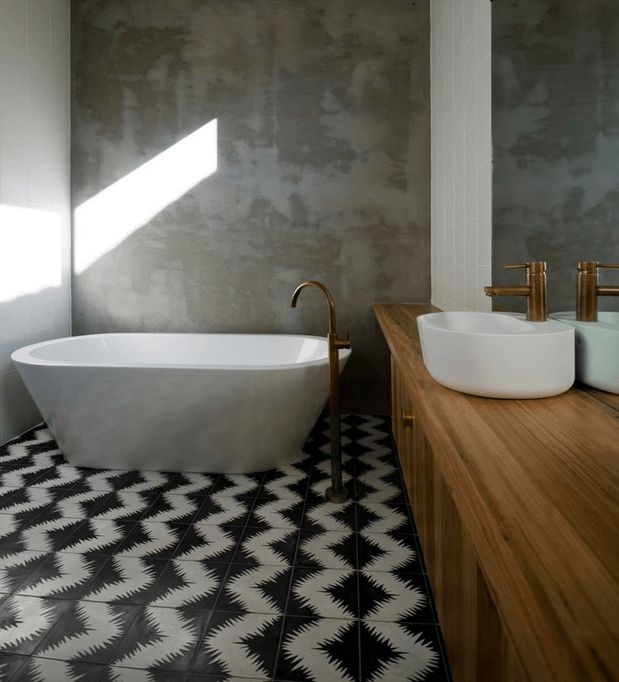 Beckoning Zigzag Tile Bathroom Floor Design also Cabinet and Bathtub