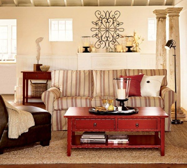 Best Interior Room Design With Coffee Table and Stripe Sofa