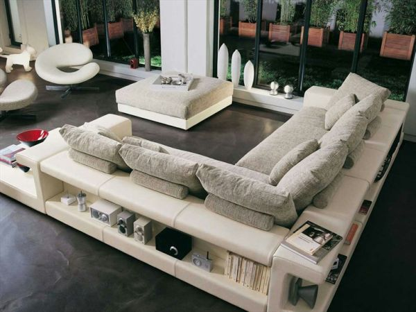 Charmant Brilliant LIving Room Decor With L Shape Sofa With Storage Ideas