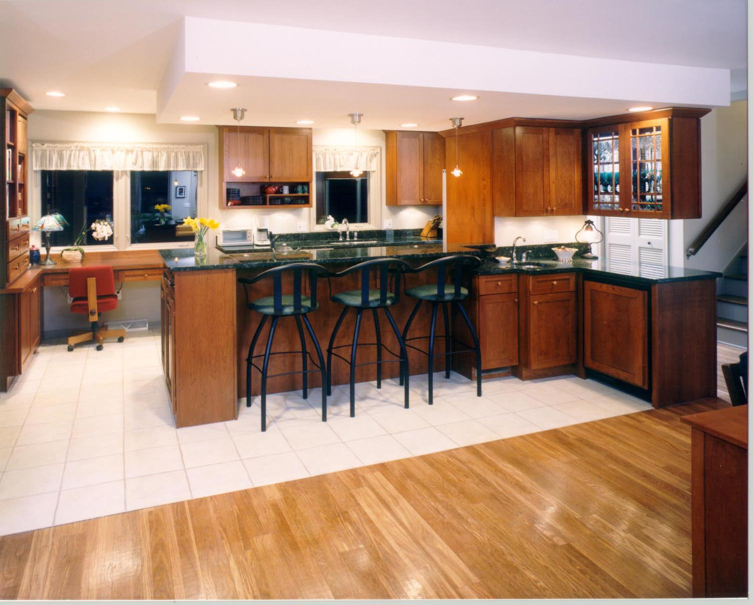 Captivating Wooden Kitchen Bar Ideas With Black Chair Bright Light