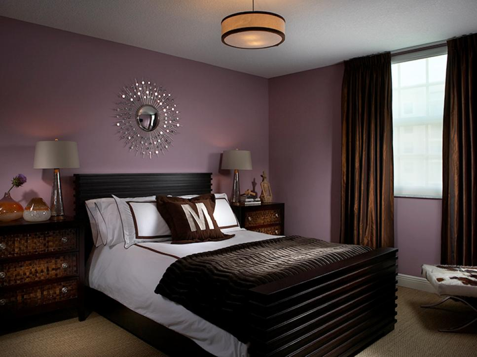 Comely Bedroom With Charming Bed and Wall Purple Color Scemes