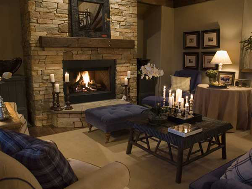 Comely Living Space  Using Sofa and Table also Stone Fireplace Ideas