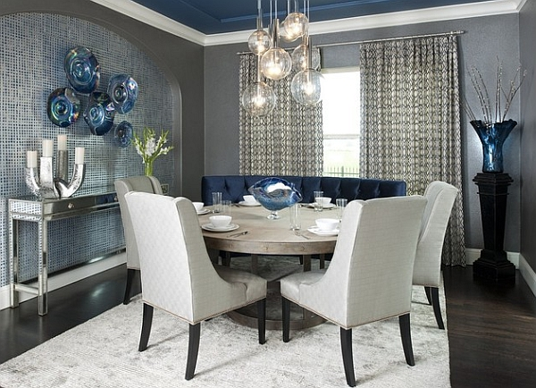 Cool Interior Blue Dining Room With Sofa also Chair and Table
