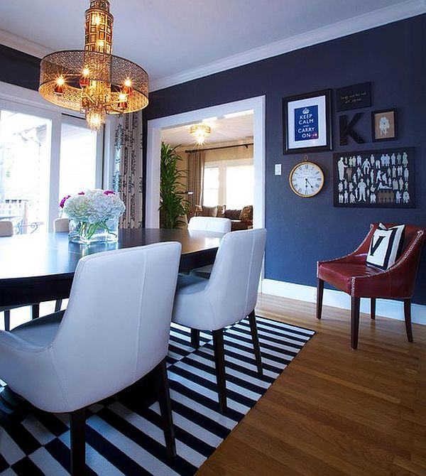 Dainty Wall Paint and Chair For Blue Dining Room Ideas