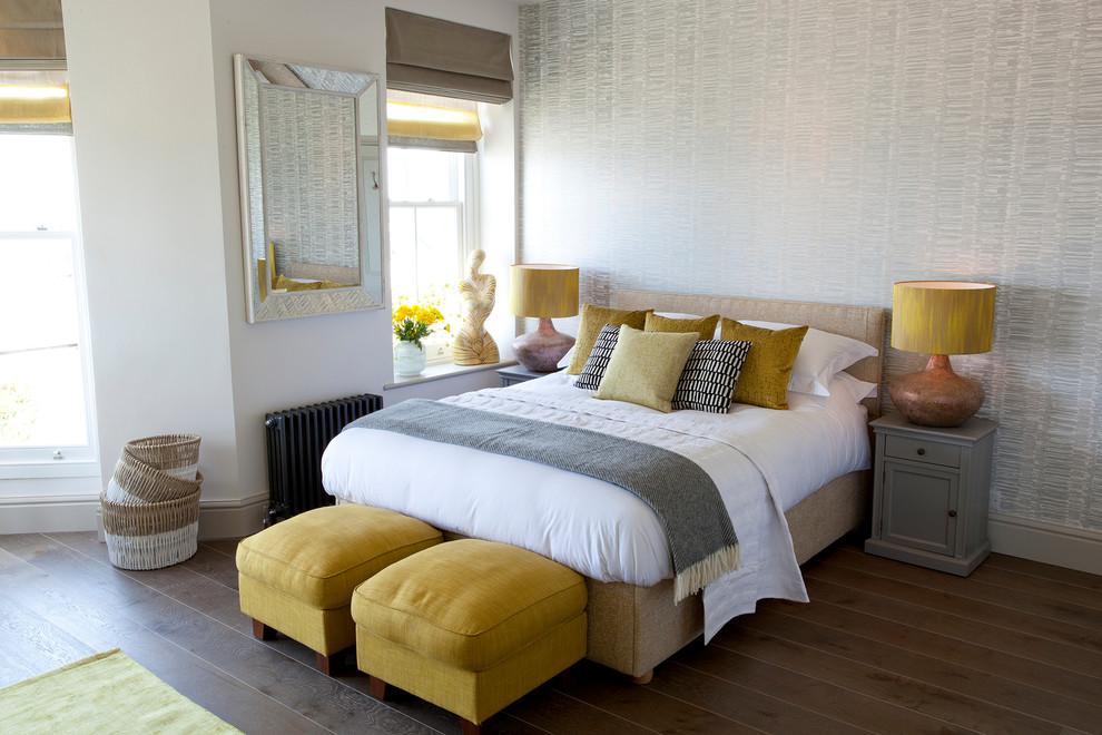 Delicate Interior Bedroom With Benches also Table Lamps and Pillows