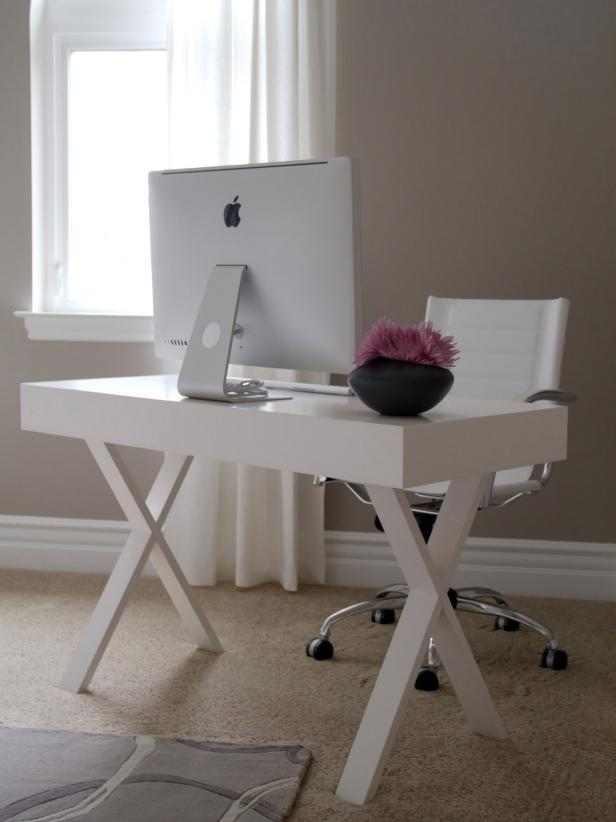 Perfect Delicate Style Of White Contemporary Computer Desk With X Shape Legs