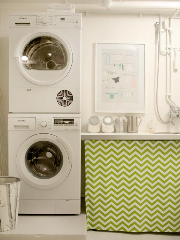 Delightful Laundry Room Design With Washing Machines also Zigzag Curtains